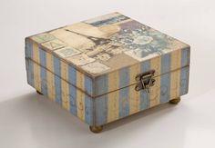 caixa baÚ paris vintage - decoração artnãna artesanatos em madeira