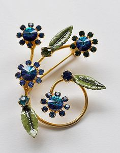 Vintage Sapphire Blue Flower Brooch by evertonterrace on Etsy