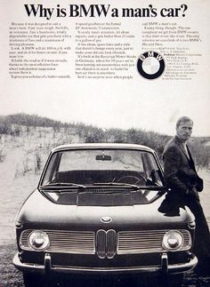 1967 BMW Coupe original vintage ad. With four wheel independent suspension, choice of 4 speed gearbox or the famed ZF automatic transmission, clean spare lines and over 25 mpg. MSRP starts at $2,477, p.o.e. New York.