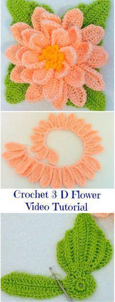 Crochet Flowers Easy Crochet 3 D Flower Video Tutorial Crochet Puff Flower, Crochet Flower Tutorial, Crochet Leaves, Crochet Motifs, Crochet Flower Patterns, Crochet Designs, Crochet Flowers, Crochet Ideas, Crochet Simple