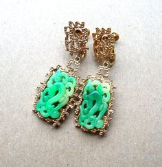 Vintage Vendome Earrings  Faux Jade by BohemianGypsyCaravan