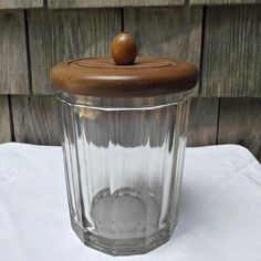 Vintage Paneled Glass Humidor with Wooden Lid Vanity Storage  offered by Ruby Lane shop Saltymaggie's Treasures