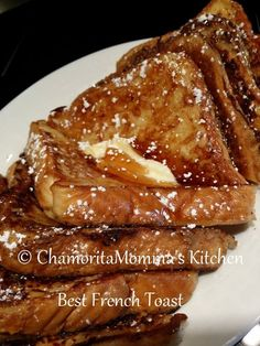 French Toast. The secret is adding flour to the mixture. Makes it more like a batter than a thin custard. Whisk between slices so flour doesn't settle