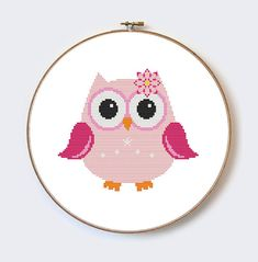 Pink Owl modern cross stitch pattern  perfect for par MilaliParade