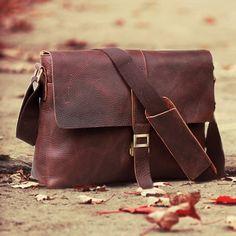 """Handmade Antique Leather Messenger Bag / Satchel / 13"""" Laptop or 13"""" MacBook Bag"""
