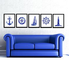 Navy blue nautical print set compass by FluidDiamondArt on Etsy