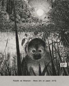 """Author: Rodolfo de Miremont Title: """"Mono"""" Technique: Ink on paper Size: 12x13 cm From the period of the Amazon Forest."""