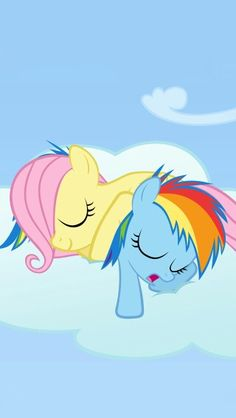 Rainbow dash and fluttershy sleeping great for screeensaver:)