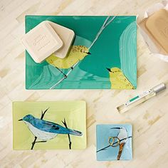 South African Bird Decoupage Trays by Capetown artist Gemma Orkin for West Elm.