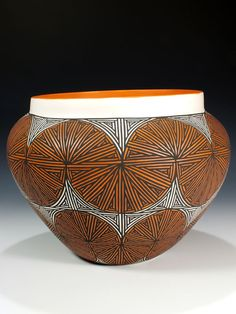 Acoma Pueblo Pottery Saw a lot of this in NM. Maybe I'll buy some when my son and I are more mature