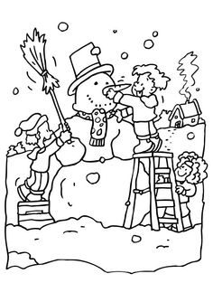 Children Playing Snow In Winter Coloring Page | Winter | Pinterest ...