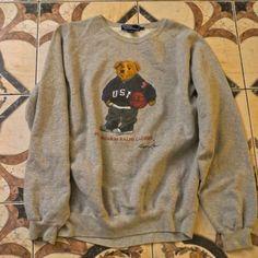 Vintage Ralph Lauren Polo Bear Sweater 1992 90s Clothes, Retro Fashion, Mens Fashion, Graphic Tees, Graphic Sweatshirt, Men's Polo, Top Top, Classic Man, Vintage Jacket