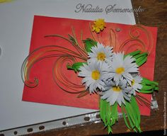 How to make spring postcard from quilling ~ Crazzy Craft