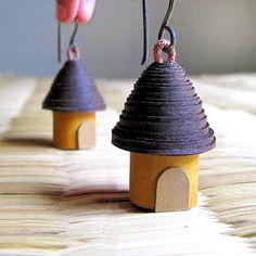 Miniature jewelry - Cottage Earrings - Paper Bead Earrings -    so easy to diy