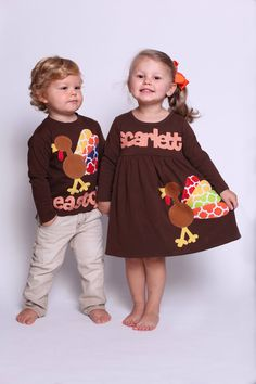 Items similar to Thanksgiving Outfit- Thanksgiving Dress Shirt Set - Brother Sister Sibling Set - Thanksgiving Applique Outfits on Etsy Holiday Outfits, Fall Outfits, Kids Outfits, Holiday Clothes, Sibling Shirts, Kids Shirts, School Shirts, School Dresses, Matching Outfits