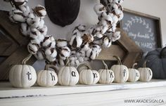 Thankful pumpkins - such a cute fall mantel