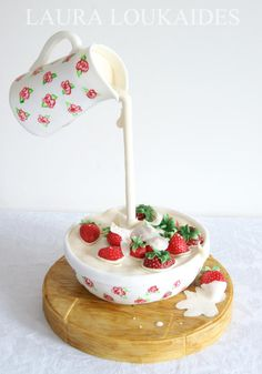 "Strawberries & Cream Gravity Defying Cake Tutorial featured in ""Cake! Crazy Cakes, Fancy Cakes, Cute Cakes, Pretty Cakes, Pink Cakes, Anti Gravity Cake, Gravity Defying Cake, Food Cakes, Cupcake Cakes"