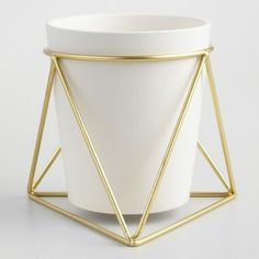 Gold Geometric Stand and White Vase - - decor - Geometric Decor Home Decor Accessories, Decorative Accessories, Accessories Online, Office Accessories, Oak Floating Shelves, World Market Store, Small Room Design, Geometric Decor, Metal Vase