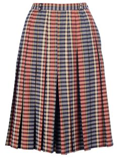 Multicolour wool a-line skirt from Mani Vintage featuring pleat details, a checked print and belt loops.