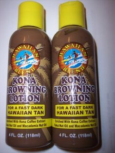 Kona Browning Lotion by Hawaiian Blend Kona Browning Lotion. $24.95. Made with Kona Coffee Extract. Hawaiian Blend Kona Tanning Lotion. FAST Shipping Worldwide!. Made with Kukui nut and Macadamin nut oil. You get a PAIR of NEW Airless Pump Hawaiian Blend Tanning Lotions for a FAST, Dark Hawaiian natural looking tan. Made with Kona Coffee Extract, Kuku nut & Macadamia nut oils.