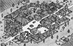 [OC] Thought I would try something different with my next town map. Dungeons And Dragons Homebrew, D&d Dungeons And Dragons, Fantasy Map Making, Village Map, Rpg Map, Building Map, Dungeon Master's Guide, Dragon Rpg, Fantasy City