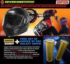 SSC SIMPSON HELMET DEAL. Buy a Matte Or Glass Black Ghost Bandit Helmet by April 15th 2017 and receive a free set of choice of any Galaxy Grips. Limited time offer. #motorcyclehelmet #chopperhelmet #harleydavidson #sportster #harleysportster #drag #racing #headprotection #helmet #simpsonhelmet #simpsonhelmets #motorcycle #headgear #harley48 #harley72 #sportster883 #sportster883iron #nightster #XL1200 #harleydavidson #galaxygrips