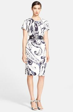 Free shipping and returns on ESCADA Paisley Print Shift Dress at Nordstrom.com. Inky paisley drenches a creamy short-sleeve shift styled with a lightly gathered jewel neckline that releases the effortlessly chic silhouette.