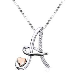"""Purchase Gold Over Round Cut Natural Genuine Diamond """"A"""" Initial Pendant With Chain # Free Stud Earrings from JewelryHub on OpenSky. Share and compare all Jewelry. Gold Letter Pendants, Letter Pendant Necklace, Initial Pendant, Diamond Pendant Necklace, Pearl Pendant, Pendant Jewelry, Valentines Jewelry, Cute Jewelry, Bracelets For Men"""