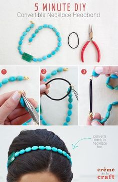 50 Crafts for Teens To Make and Sell Crafts to Make and Sell - 5 Minute DIY Convertible Necklace Headband - Cool and Cheap Craft Projects and DIY Ideas for Teens and Adults to Make and Sell - Fun, Cool… Headband Tutorial, Diy Headband, Handmade Headbands, Diy Tutorial, Diy Crafts Makeup, Diy Makeup, Makeup Hacks, Makeup Ideas, Diy Crafts 5 Minutes