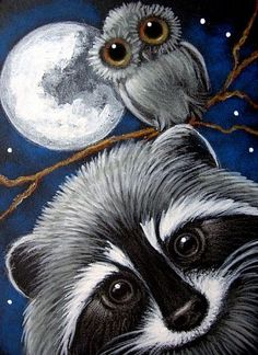 raccoon paintings | LOVELY RACCOON & OWL AT NIGHT - by Cyra R. Cancel from Gallery