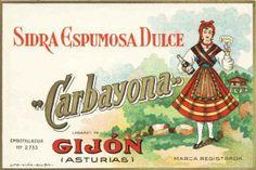 Antigua etiqueta de la sidra espumosa dulce CARBAYONA, de Gijón. No deja de ser curioso este nombre típicamente atribuido a una ovetense para una sidra elaborada en Gijón, no?
