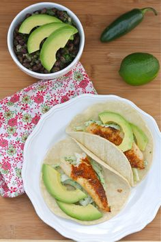 Healthy Mexican Dinner: Tilapia & Avocado Tacos + Quick & Easy Black Bean Salad