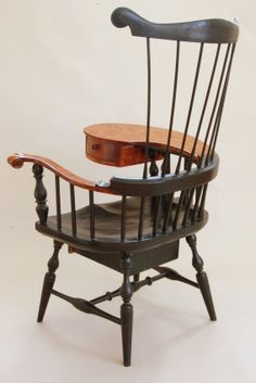 Wood Writing Chairs With Tablet | Custom Made Comb Back Windsor Writing Arm  Chair (