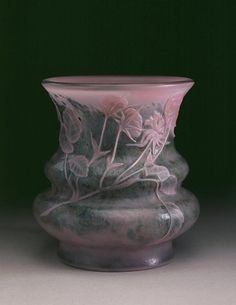 Emile Gallé, Nancy, (1846-1904), Blown, Internal Inclusions, and Engraved Glass Vase.