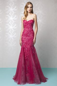 Sweetheart Raspberry Mermaid dress in embroidered Tulle and a hand painted Crinoline skirt, featuring a strapless sweetheart shaped neckline.