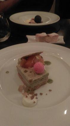 EPIRO - Pistacho semifreddo with white chocolate mousse and watermelon sorbet: delicious