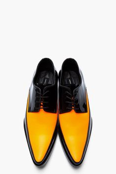 DSQUARED2 Black and orange patent leather shoes