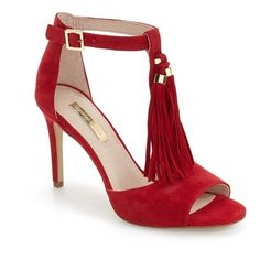 Women's Louise Et Cie 'Tage' Tassel Sandal (£125) ❤ liked on Polyvore featuring shoes, sandals, red garnet suede, stiletto heel sandals, open toe shoes, high heel stilettos, suede sandals and suede shoes