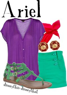 """""""Ariel"""" by disneythis-disneythat ❤ liked on Polyvore A non-annoying way to dress up in the Disney spirit ; )"""