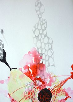 Drawing Contemporary Organic Floating Abstract Egg Shapes and Hexagons in Black, Gray, Red on White Flux No. 1
