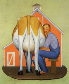 All the really good ideas I ever had came to me while I was milking a cow. ~Grant Wood Grant Wood, of American Gothic fame was a mid-western boy who Grant Wood, 1930s America, Artist Grants, Subject Of Art, Crafty Hobbies, Farm Art, American Gothic, Cow Art, Light Crafts