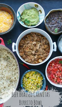 Beer Braised Carnitas Burrito Bowl from Taste Love and Nourish. If you love Chipotle& burrito bowls, you will love this complete set of healthy and delicious recipes! Mexican Dishes, Mexican Food Recipes, Dinner Recipes, Pork Recipes, Cooking Recipes, Healthy Recipes, Delicious Recipes, Easy Recipes, Chipotle Recipes
