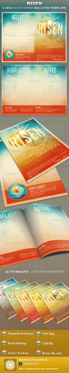 The Risen Church Bulletin Template is great for any Church Event. is great for Sermons, Gospel Concerts, Youth programs, Pageants and Musicals, etc. The layered Photoshop files are color coded and organized in folders for easy editing. The file also contains 6 – One Click Color options. - $6.00