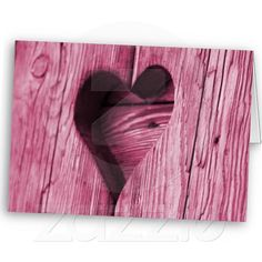 Pink Heart carved in wood Greeting Card
