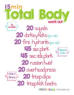 15 Min Total Body Workout Printable and Weekly Weight Loss Plan Week 4 #weightloss