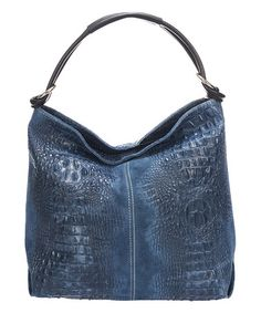 ad1a465759c Another great find on  zulily! Blue Croc-Embossed Leather Hobo  zulilyfinds  Blue
