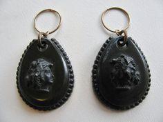 Victorian Earrings Vulcanite Cameo