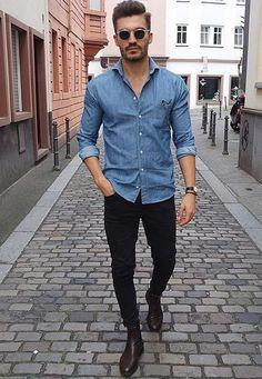 Roupa Masculina para Entrevista de Emprego. Macho Moda - Blog de Moda Masculina: Como se Vestir para ENTREVISTA DE EMPREGO? Homem. Moda para homens, Roupa de Homem, Estilo Masculino. Camisa Jeans,