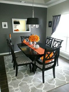 Black and Grey Dining Room Inspirational Love This Grey and Black Dining Room the Dash Of orange Orange Dining Room, Living Room Orange, Living Room Grey, Living Room Decor, Black Dining Room Table, Orange Kitchen, Dining Tables, Dining Room Design, Dining Room Furniture