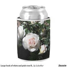 Shop Large bush of white and pink rose flowers can cooler created by LukeMar. White And Pink Roses, Pink Rose Flower, White Flowers, Anniversary Flowers, Wedding Anniversary, Wedding Koozies, Hand Warmers, Perfect Wedding, Create Yourself